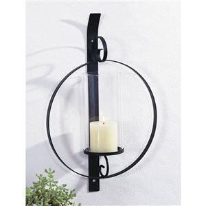 ArtMaison Canada Orbit II Metal Wall Sconce With Glass, 12-in x 18-in Round Hanging Candle Holder, Black