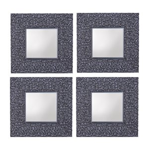 Mirrorize Canada 11.25-in L x 11.25-in W Square Silver Grey Mosaic Framed Wall Mirror