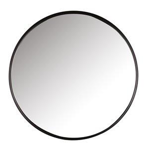 Mirrorize Canada 34-in  Round Black Framed Vanity Mirror