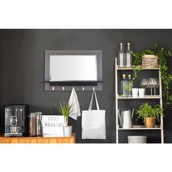 Mirrorize Canada 33-in L x 23.6-in W Rectangle Brown Framed Wall Mirror