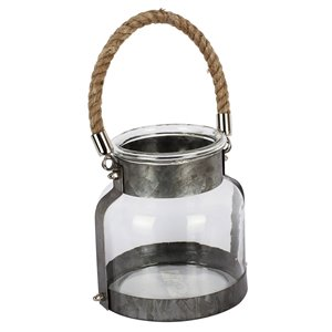 ArtMaison Canada 6-in x 6-in  Iron Glass Candle Lantern, Grey Metal