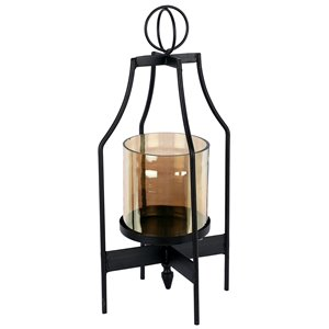 ArtMaison Canada 14-in x 6-in Iron Glass Candle Lantern, Black Metal Vintage Candle Holders, Black