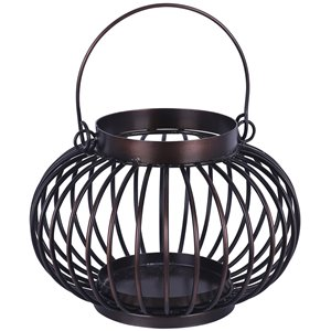ArtMaison Canada 8.5-in x 6-in Iron Candle Lantern With Glass, Brown Metal Vintage