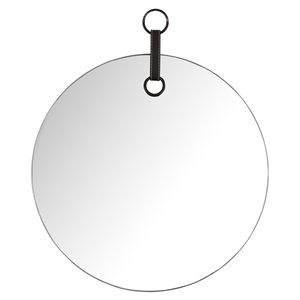 Mirrorize Canada 19-in Round Black Silver Polished Wall Mirror
