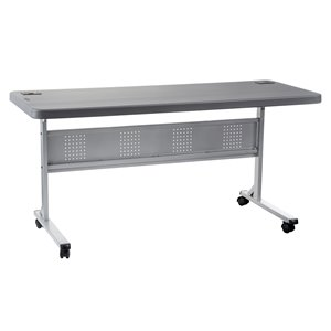 National Public Seating Flip-N-Store Training Table - 24-in x 60-in - Charcoal Slate