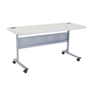 National Public Seating Flip-N-Store Training Table - 24-in x 60-in - Speckled Grey