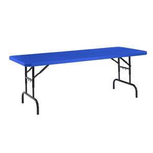 National Public Seating Height Adjustable Heavy Duty Folding Table - 30-in x 72-in - Blue
