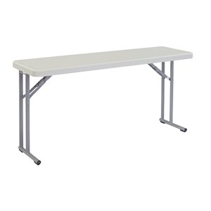 National Public Seating Heavy Duty Seminar Folding Table - 18-in x 60-in - Speckled Grey