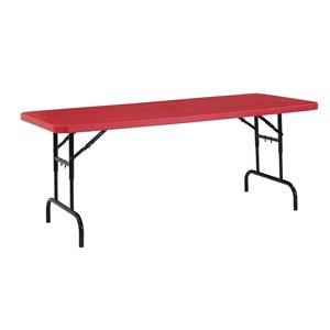National Public Seating Height Adjustable Heavy Duty Table - 30-in x 72-in - Red