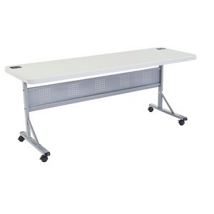 National Public Seating Flip-N-Store Training Table - 24-in x 72-in - Speckled Grey