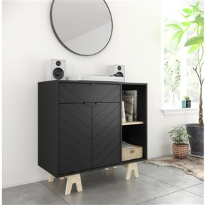 Nexera Gossip Sideboard with Accent Doors - Black and Russian Birch Plywood