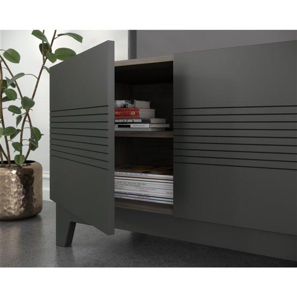 Nexera 402629 Influence TV Stand - 72-inch - Bark Gray and Charcoal Gray