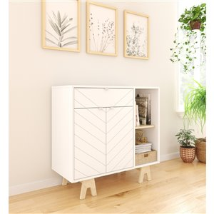 Nexera Gossip Sideboard with Accent Doors - White and Russian Birch Plywood