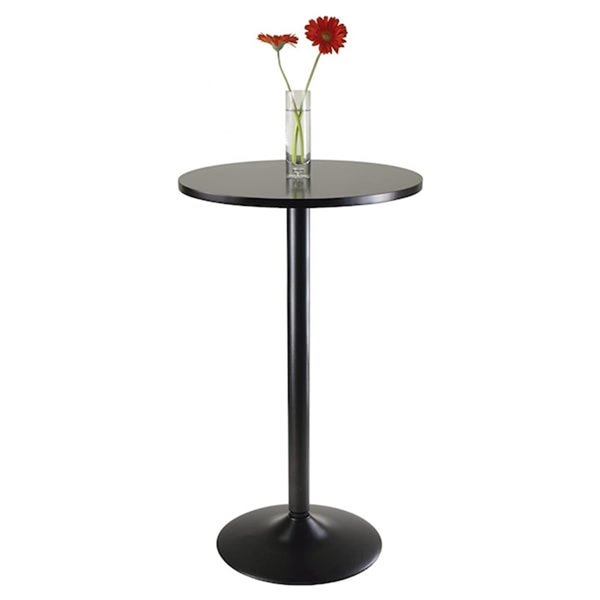 Nicer Interior Obsidian Round Bar Table - 24-in x 24-in - Black