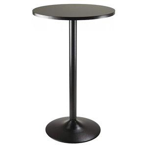 Table de salle à manger ronde Obsidian de Nicer Interior, 24 po x 24 po, noir
