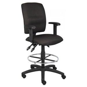Chaise à roulettes par Nicer Interior, ergonomique et multifonction accoudoirs ajustables, tissu noir