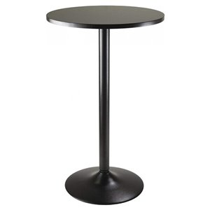 Nicer Interior Obsidian Round Bar Table - 28-in x 28-in - Black