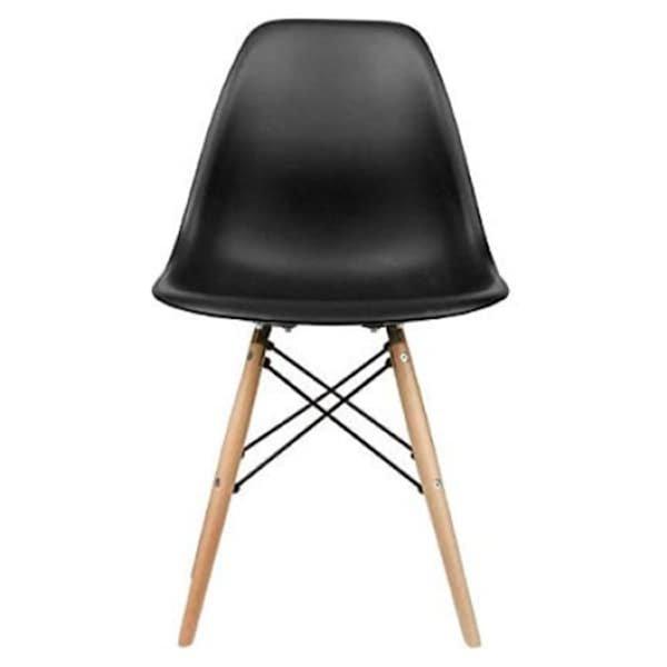 Ensemble de chaises pour salle à manger Eiffel de Nicer Interior, noir/bois, ens. de 6