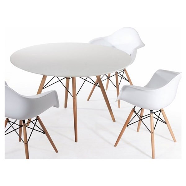 Nicer Interior Elegant Round Dining Table - 40-in x 40-in - Natural/White