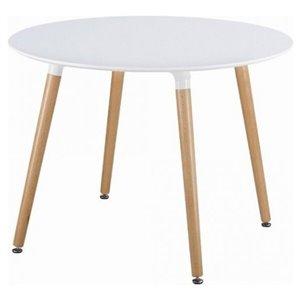 Table de salle à manger ronde Eames de Nicer Interior, 32 po x 32 po, naturel/blanc
