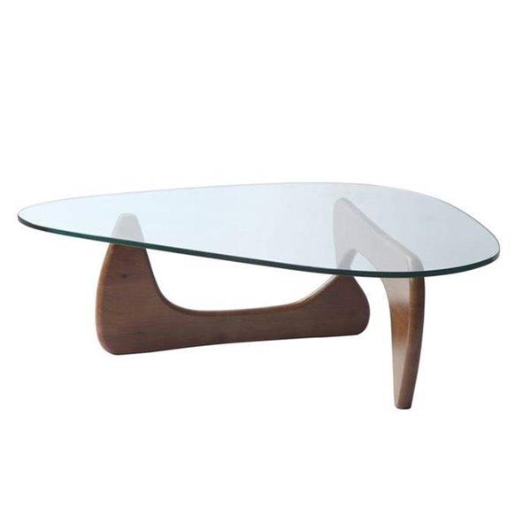 Table basse contemporaine Noguchi de Nicer Interior, 52 po x 36 po, brun noyer pâle/verre