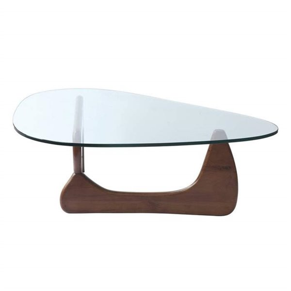 Nicer Interior Noguchi Contemporary Coffee Table -  52-in x 36-in - Light Walnut Brown /Clear Glass