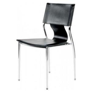 Chaise pour salle à manger de Nicer Interior, noir/chrome, ens. de 2