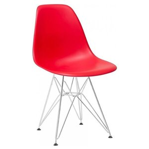 Nicer Interior Eiffel Dining Side Chair - Red/Metal - Set of 2