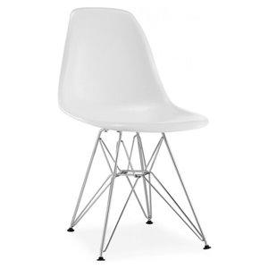 Chaise pour salle à manger Eiffel de Nicer Interior, blanc/métal, ens. de 2