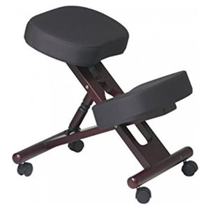Nicer Interior Memory Foam Drafting Chair - Black and Natural Wooden Frame