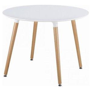 Table de salle à manger ronde Eames de Nicer Interior, 40 po x 40 po, naturel/blanc