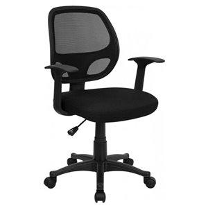 Chaise de bureau ergonomique de Nicer Interior avec accoudoirs, noir