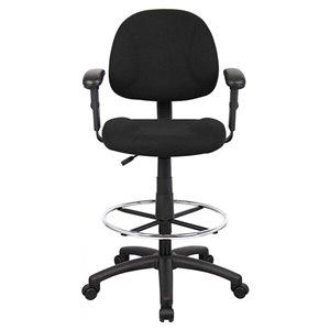 Chaise à roulettes par Nicer Interior avec repose-pieds, tissu noir