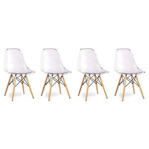 Chaise pour salle à manger Eiffel de Nicer Interior, transparent/bois naturel, ens. de 4