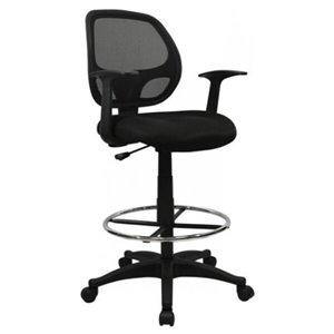Chaise de bureau à roulettes de Nicer Interior avec repose-pieds, noir