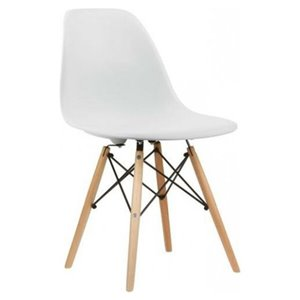 Nicer Interior Eiffel Dining Side Chair - White/Natural Wood - Set of 4