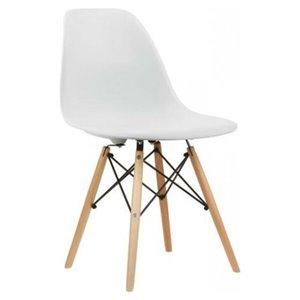 Chaise pour salle à manger Eiffel de Nicer Interior, blanc/bois naturel, ens. de 4