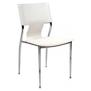 Chaise pour salle à manger de Nicer Interior, blanc/chrome, ens. de 4