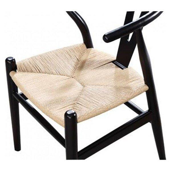 Chaise pour salle à manger réplique de Hans Wegner Wishbone par Nicer Interior, noir/beige, ens. de 2