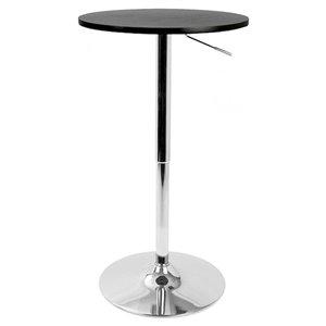 Table de salle à manger ronde ajustable de Nicer Interior, 28 po x 28 po, chrome/noir