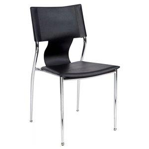 Chaise pour salle à manger de Nicer Interior, noir/chrome, ens. de 6