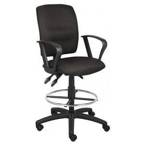 Chaise à roulettes par Nicer Interior, ergonomique et multifonction, accoudoirs ajustables, tissu noir