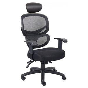 Chaise de bureau multifonction ergonomique par Nicer Interior, tissu noir