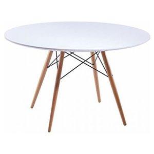 Table de salle à manger ronde Elegant de Nicer Interior, 47 po x 47 po, naturel/blanc