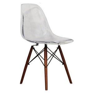 Chaise pour salle à manger Eiffel de Nicer Interior, transparent/bois brun, ens. de 6