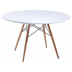 Nicer Interior Elegant Round Dining Table - 32-in x 32-in - Natural/White
