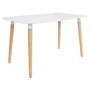Table de salle à manger rectangulaire Eames de Nicer Interior, 63 po x 32 po, naturel/blanc