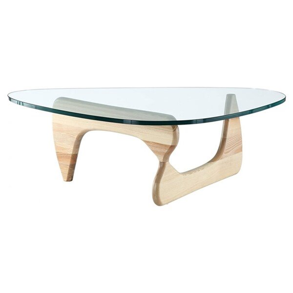 Nicer Interior Noguchi Contemporary Coffee Table -  52-in x 36-in - Natural Wood/Clear Glass