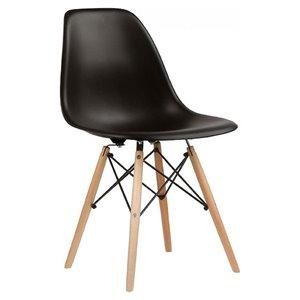 Chaise pour salle à manger Eiffel de Nicer Interior, noir/ bois naturel, ens. de 2