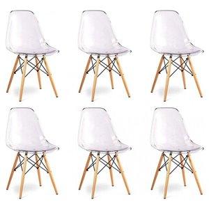 Chaise pour salle à manger Eiffel de Nicer Interior, transparent/bois naturel, ens. de 6